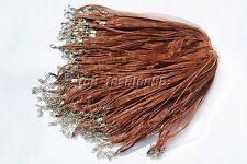 wholesale 20pcs Brown Organza Ribbon Necklace Silk Cord Clasp 450mm FREE