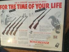 "Vintage Winchester 22 rifle advertizing framed 12x16"" 50's"