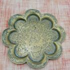 Small Vintage Handcrafted Engraved Indian Brass Plate Tray Handmade