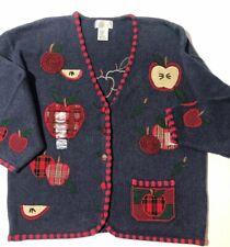 Mandal Bay Back To School Apple Teacher Fall Button Cardigan Sweater Womens XL
