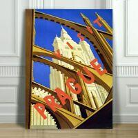 """VINTAGE TRAVEL CANVAS ART PRINT POSTER - Prague Architecture -24x16"""""""