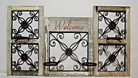 Rustic Country Wood Iron Metal Scroll Garden Decor Wall Fence Window Holders