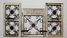 "44"" x 25"" Rustic Country Wood Iron Metal Scroll Garden Decor Wall Window Holder"