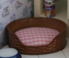 Dog or Cat Basket, Dolls House Miniature Pet Bed, 1.12 Scale