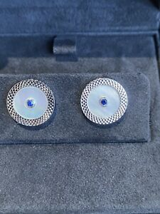 Dunhill Cufflinks Blue Sapphire, Mother of Pearl Sterling Silver BNWB RRP£1350