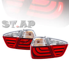05-08 Bmw 3-Series E90 4Dr Sedan New Generation Led Taillights Pair Red Clear