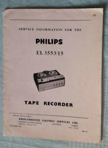Philips Tape Recorder Type EL 3553/15- Service Information 1965 Radio Reel