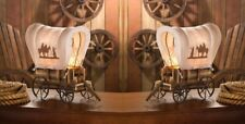 2 Covered Wooden Wagon Table Lamps w/ Fabric Shades Western Decor