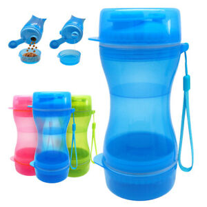 Portable Dog Water Bottle Food Container 2 in 1 Travel Outdoor Dispenser Feeder