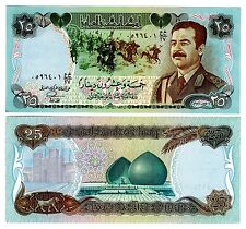Iraq 25 Dinars Uncirculated note Saddam Hussein