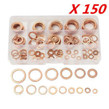 150XWashers Solid Copper Crush Seal Flat Ring Assorted Garage Engine Washer Set