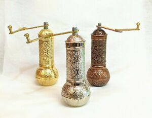 Turkish Coffee Grinder Traditional Manual Mill Spice Copper Silver Gold
