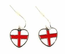 Zest St George Flag England Heart Earrings for Pierced Ears Red & White