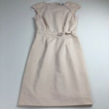 Jennifer Lopez Women Sheath Dress 0 Light Pink Beige Cap Sleeve Crewneck Career