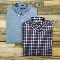 Lot of 2 J.Crew Men's XL Slim Fit Flex Mercantile Button Down Shirts Long Sleeve
