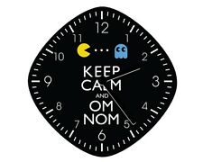Keep Calm And Om Nom Pacman Wall Clock