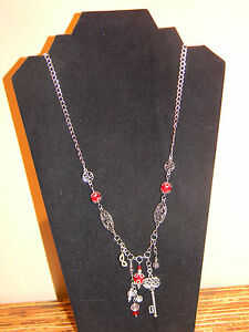 Steampunk Necklace Victorian Style Key Mask Red Glass Beads Antique Silver Charm