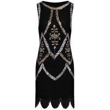 1920 vtg gatsby charleston flapper sequins beads black gold silver dress UK10-18