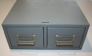"""2-Drawer Metal Index Card Filing Cabinet - 13"""" X 16"""" X 5-1/4"""" - Have 4 of These"""