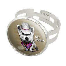 Go Westie West Western Cowboy Dog Silver Plated Adjustable Novelty Ring