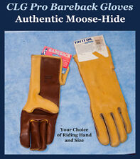 Clg Moose-Hide Bareback Riding Gloves, Two-Tone Color - Choice of Hand & Size A
