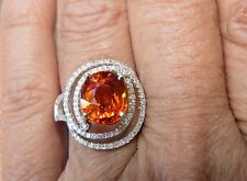 14K WG  5.12 ct  LARGE Mandarin Spessartite Garnet and Diamond Ring - Size 7.5
