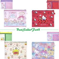 Sanrio 3-Pocket Polyester Folder A4 Paper Document File Case F4 Zip Pouch w/Mesh