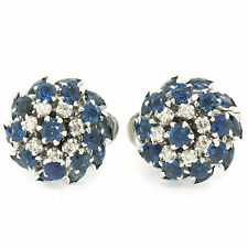 14K White Gold 4.85ctw Tiered Marquise Round Sapphire & Diamond Cluster Earrings