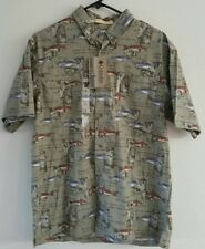 NWT Mens Columbia River Lodge Shirt Medium Sight Fisher Camp Trout 32/34 new