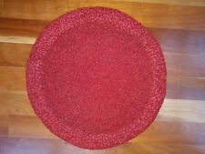 "Red Glass Beaded 15"" Round Placemat Charger Christmas Table Linen Heavy Handmade"