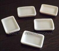 5 Dollhouse Miniature White Ceramic Plates / Dishes Set * Doll Mini Food Tray