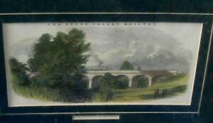 Antique Coloured Engraving of Viaduct over The River Avon (Trent Valley Railway)