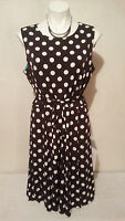 NWT RONNI NICOLE Women's Brown & White Polka Dot Tie Waist Stretch Dress Size 16