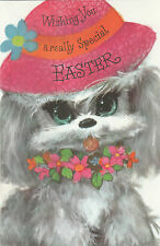 Vintage 1970's Happy Easter Greeting Card ~ Cute Big Eyed Puppy Dog
