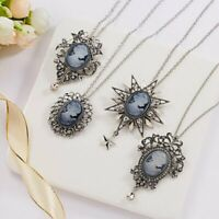 Vintage Cameo Crystal Rhinestone Pendant Necklace Silver Chain Women Jewelry New