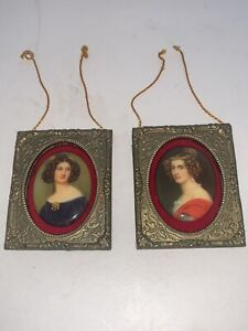 "Vintage Dollhouse Miniatures  Hanging Art Framed PORTRAITS Women ""Antique Look"""