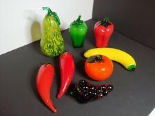 8 Murano Style Life Size Art Glass Fruit Vegetables