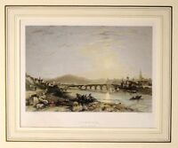 1836 ANTIQUE PRINT - MOUNTED - BERWICK FROM THE SOUTH EAST - HAND COLOURED