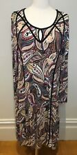BLUE ILLUSION Paisley Long Sleeve Stretch A-Line Viscose Blend Casual Dress XL