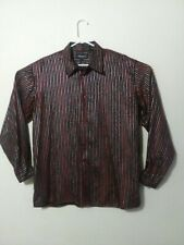 Pronti Collection By Phita Mens XL Shirt, Red And Black, Silver Striped
