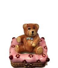 Limoges France Peint Main Trinket Box Teddy Bear on Bed Signed