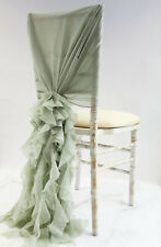 CHIFFON HOODS WITH RUFFLES CHAIR COVER 30 COLOURS DECOR WEDDING SPECIAL EVENTS