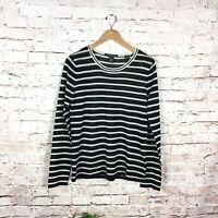 Maison Scotch Striped Wool Blend Black White Long Sleeve Sweater Size 4