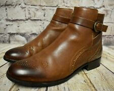 Womens Clarks Netley Olivia Tan Leather Zip Up Low Heel Ankle Boots UK 7 EUR 41