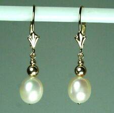14k solid gold 9x8mm natural teardrop freshwater white pearl earrings leverback