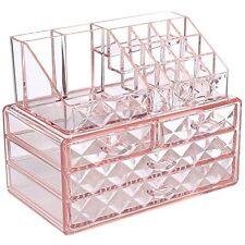 Acrylic Pink Diamond Jewelry Makeup Organizer Case Box Storage Display Drawer .