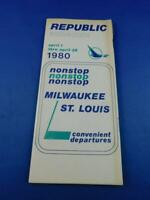REPUBLIC AIRLINE TIMETABLE SCHEDULE APRIL 1980 NONSTOP MILWAUKEE ST LOUIS TRAVEL