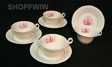 HTF Vintage Spode Red Albion Ships - 4 Tea Cups & Saucers Rare Red Color 1930's