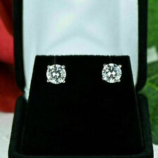 Brilliant Round Cut 2Ct Diamond Earrings Fine 14Kt White Gold Stud Over