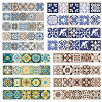 European Retro Flower Pattern Self-adhesive Tiles Wall Stickers Decal Decor